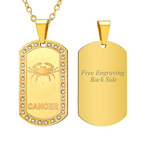 - U7 Customized Necklace Men Birthday Gift 18K Gold Plated Stainless Steel Rhinestone Inlaid Constellation Zodiac Sign Dog Tags Pendant, Back Side Engravable Personalized Jewelry (Cancer)