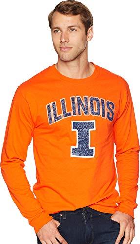(Champion College Men's Illinois Fighting Illini Long Sleeve Jersey Tee Orange X-Large)