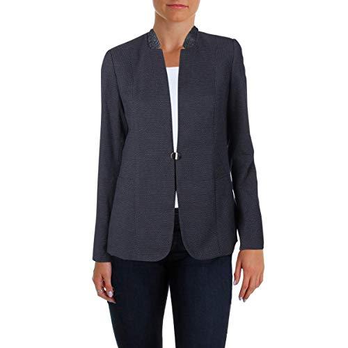 T Tahari Women's Nishi Novelty Suiting Blazer, Navy, 16