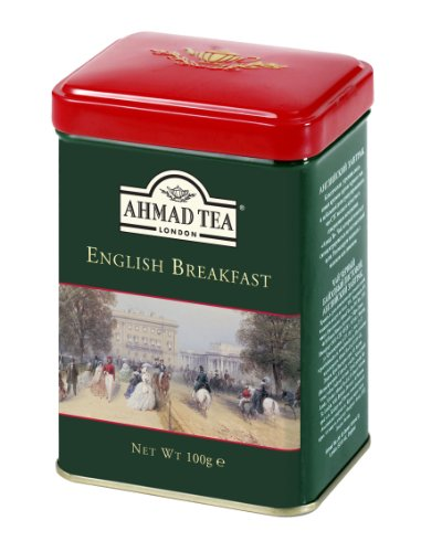 Breakfast Tea Caddy - Ahmad Tea Caddy Gift Tin, English Scene, English Breakfast, 100 Gram