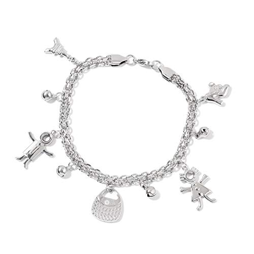 (Shop LC Delivering Joy Stainless Steel Princess Bell Charm Anklet 9 in)