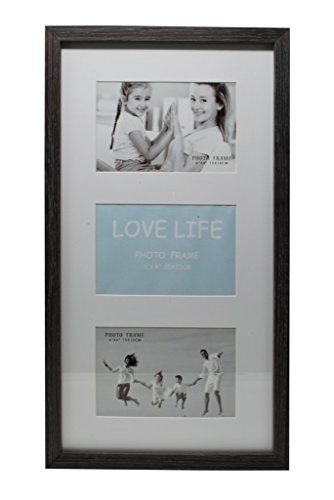 9.5x17 Gray Photo Picture Frame - Matted to Fit Three 4x6 inch Photos - Wall Mounting Hooks Included
