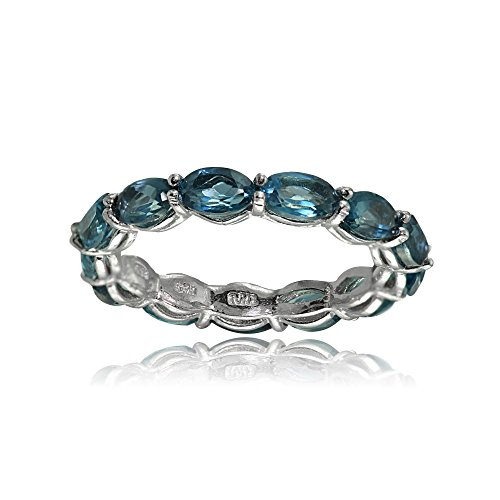 - Ice Gems Sterling Silver London Blue Topaz 5x3mm Oval-Cut Eternity Band Ring, Size 7