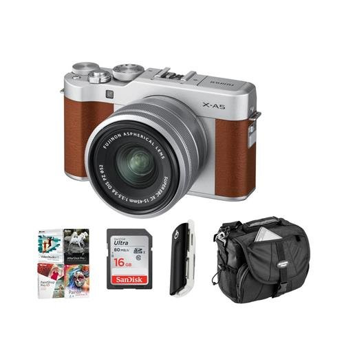 Fujifilm X-A5 24.2MP Mirrorless Digital Camera with XC 15-45mm f/3.5-5.6 OIS PZ Lens, Brown - Budle with 16GB SDHC Card, Camera Case, Card Reader, PC Software Package