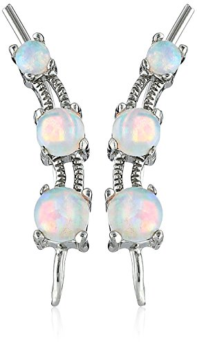 (The Ear Pin Sterling Silver Simulated Opal The Look of 3-in-1 Earrings)