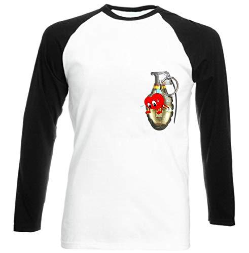 Mens 3/4 Sleeves Tee Cotton Casual Slim Fit Henley T-Shirts Raglan Baseball Long Sleeve Grenade Heartbeat Passion Impulse Wine Red