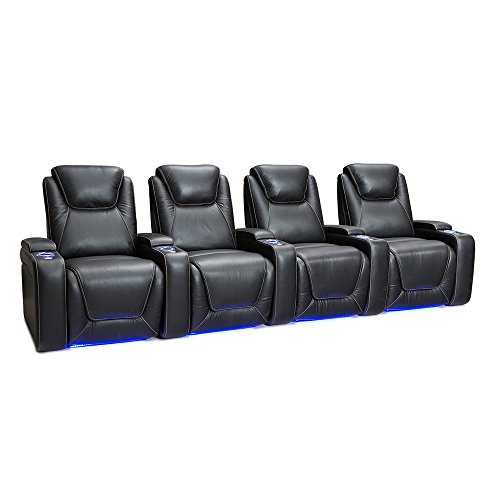 Cheap SEATCRAFT Equinox Home Theater Seating Power Recline Leather (Row of 4, Black)