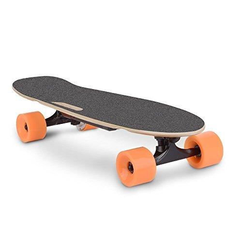 "DAZONE Mini 28"" Electric Skateboard Longboard Cruiser, Portable Motorized Penny Board - UL2272 Certified Battery/Top Speed 9.3 MPH - with Wireless Remote Controller"