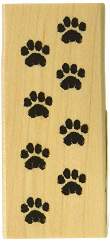 Inkadinkado Cat Paw Print Wood Stamp for Arts and Crafts, 1.25'' W x 2.75'' L (Animal Tracks Rubber Stamps)