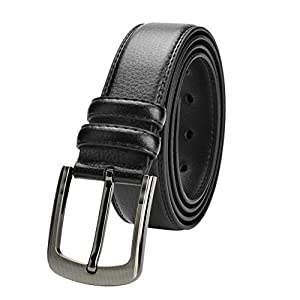 Men's Leather Belt 39″-70″ Waist Regular and Big & Tall Sizes,Black & Brown Colors
