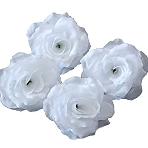 Silk Flowers Wholesale 100 Artificial Silk Rose Heads Bulk Flowers 10cm For Flower Wall Kissing Balls Wedding Supplies (White) 107