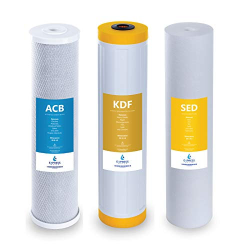 Express Water - Whole House Heavy Metal Water Filter Set - 3 Stage Filtration Replacement Kit - Sediment, Carbon Block, KDF High Capacity Cartridge - 5 Micron - 4.5