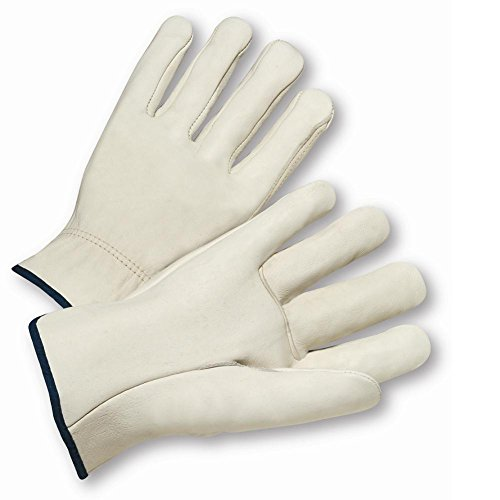X-Small White Select Grain Leather Unlined Drivers Gloves With Straight Thumb And Shirred Elastic Cuff