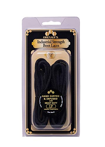 Obenauf's Boot Laces Industrial Strength Black Waxed Round 1 Pair 72 Inch