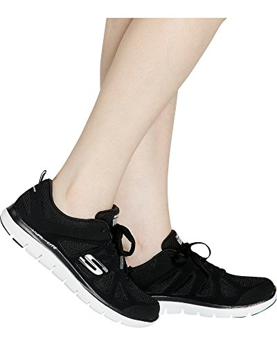 (Skechers Women's Flex Appeal 2.0 Simplistic Training Shoe,Black/White,US 6 W)