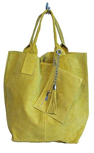 G&G PELLETTERIA - Bolso al hombro de Piel para mujer amarillo