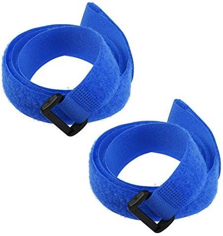 uxcell フックとループのストラップ25mm x 800mmストラップ固定 再利用可能な固定ケーブルタイ (ブルー) 2個