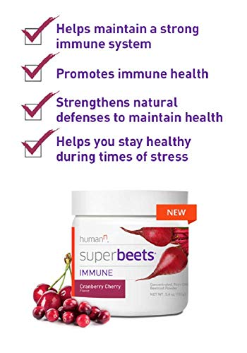 HumanN SuperBeets Immune Concentrated Non-GMO Beetroot Immune System Supporting Supplement (Cranberry Cherry, 5.4-Ounce, 2-Pack) by HumanN (Image #1)