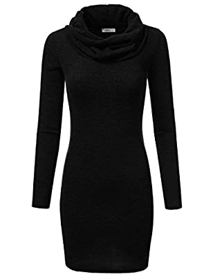 Doublju Thin Cowl Neck Tunic Bodycon Dress For Women With Plus Size (Made In USA)