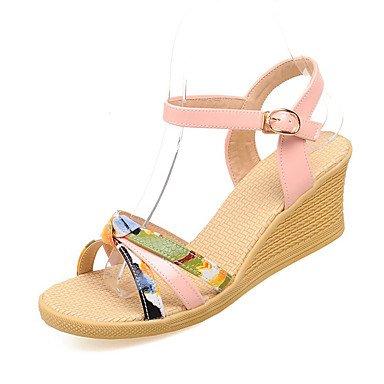 ZQ Zapatos de mujer-Tac¨®n Cu?a-Tacones-Tacones-Oficina y Trabajo / Vestido / Casual-Microfibra-Negro / Amarillo / Beige , yellow-us5 / eu35 / uk3 / cn34 , yellow-us5 / eu35 / uk3 / cn34