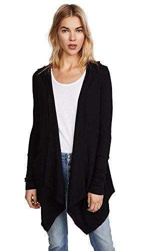 (Splendid Women's Thermal Cardigan with Hood, Black, XX-Small)