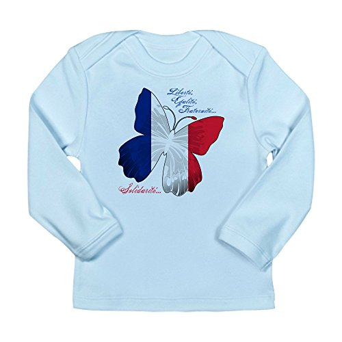 (Truly Teague Long Sleeve Infant T-Shirt French Flag Butterfly Solidarite - Sky Blue, 0 To 3 Months)