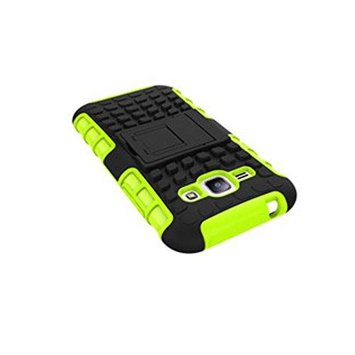 Galaxy J1 (4.3 inches) Funda,COOLKE Duro resistente Choque Heavy Duty Case Hybrid Outdoor Cover case Bumper protección Funda Para Samsung Galaxy J1 (4.3 inches) - Rosa verde