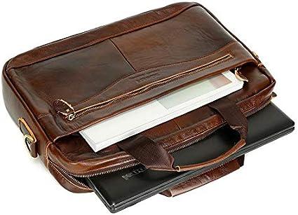 Dongyd Elegante maletín de Cuero Genuino para Hombres Bolso