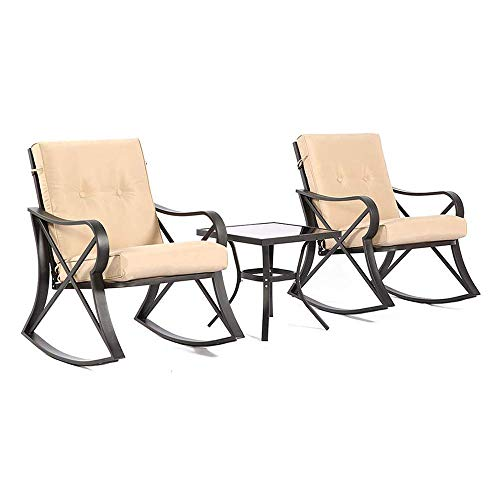 Solaura Rocking Bistro Set 3-Piece Black Steel Outdoor Furniture with Beige Cushion & Glass Coffee Table