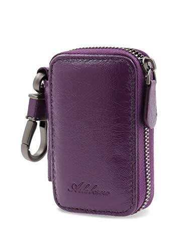AslabCrew Car Key case Genuine Leather Car Smart Key Chain Keychain Holder Metal Hook and Keyring Zipper Bag for Remote Key Glam-Purple
