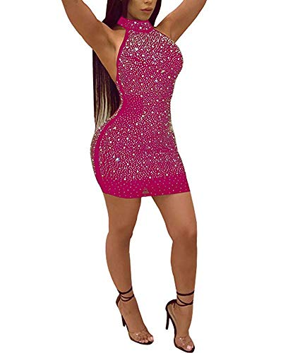 Womens Sexy Two Pieces Bodycon Outfit Embellished Rhinestone Long Sleeve Crop Top with Mini Dress Clubwear Rosered XXL