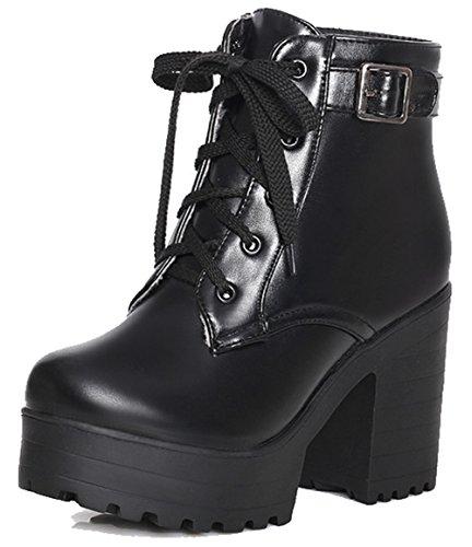Easemax Mujeres Trendy Round Toe Hebilla Correa Plataforma High Chunky Heel Lace Up Botines Negro