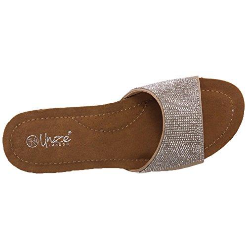 Unze Womens ' Zuiys , zapatos sin cordones de cuña Shimmery Beige