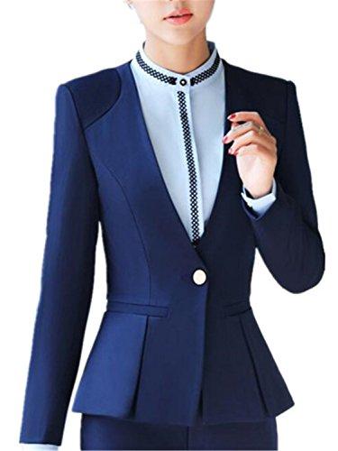 (JIANGTAOLANG Women Blazer Formal Long Sleeve Slim V Neck One Button Office Plus Size Navy Blue Blazer XXXL)