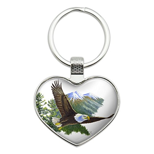 Bald Eagle Keychain (Bald Eagle Flying Over the Mountains Scenic Heart Love Metal Keychain Key Chain Ring)