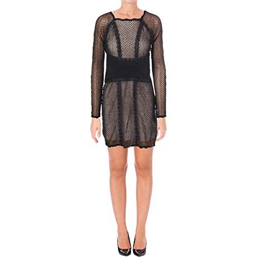 Free People Womens Juniors Lace & Mesh Bodycon Dress Black, L,Large