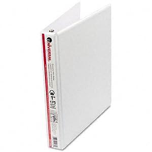 12 Universal Round Ring Economy Vinyl View 3-Ring Binders, 1 Capacity, White, EA - UNV20962