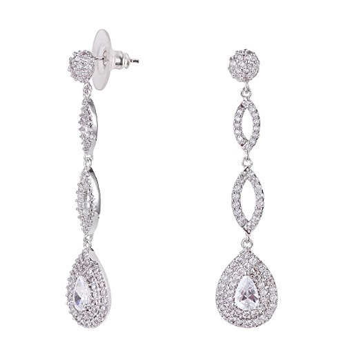 Wordless Love Full Pave Cubic Zirconia Teardrop Bridal Long Earrings White Weeding Jewelry by Wordless Love (Image #3)