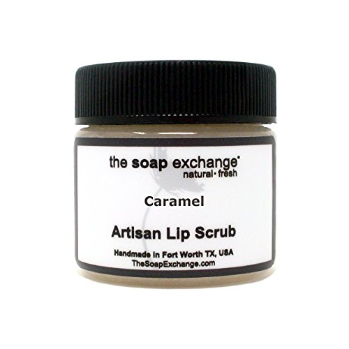 - The Soap Exchange Lip Scrub - Caramel Flavor - Hand Crafted 1.5 oz / 42.5 g Natural Lip Care, Artisan Lip Treatment, Exfoliate, Hydrate, Protect. Made in the USA.