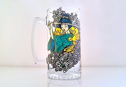Japanese Samurai, Beer Glass, Beer Mug, Collectible, Hand Painted by The Nocturnal Panda
