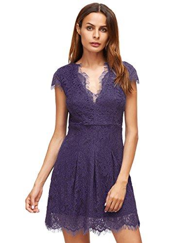 [ROMWE Women's Gorgeous V neck A Line Sexy Short Cap Sleeve Lace Dress Purple L] (Sexy Purple Dress)