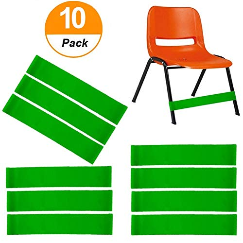 ( 10 count ) Natural Latex Stretch Foot Bands Workout ADHD ADD SPD Autism Sensory Needs & Stretch Foot Band for Chairs by Solace Helps Improve Focus in the Classroom Rehab or Physical Therapy