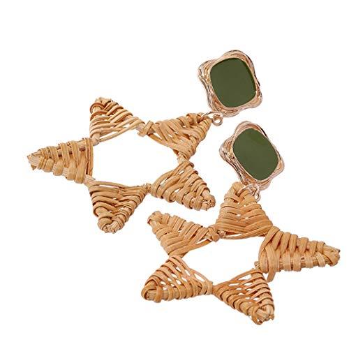 Peigen Simple Geometric Hoop Earring for Women Girls,Fashion Bohemian Vintage Handwoven Fivepointed Star Earrings Ladies Jewelry