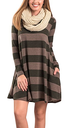 Twippo Striped Tunic Dresses For Women To Wear With Leggings Army Green M (20 Dresses Dollar)