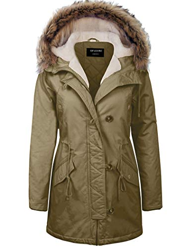 TOP LEGGING TL Women's Versatile Militray Anorak Parka Hoodie Jackets with Drawstring J77 Olive 1XL -