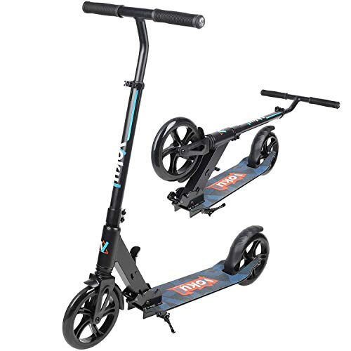VOKUL Foldable Kick Scooters for Adults Teens Kids – 1 SEC Folding System 90-105cm Adjustable Bar Shock Absorption System 200mm Big Wheels,Smooth Glide Scooter with 220lbs Capacity
