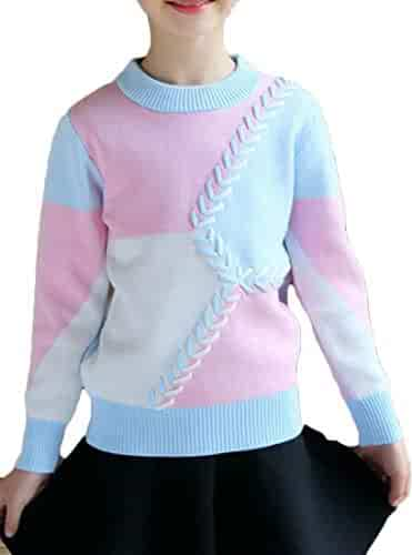 6b6719c735 Wofupowga Girls Knitwear Contrast Color Autumn Winter Pullover Jumper  Crew-Neck Sweater