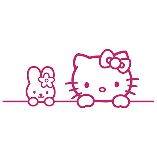 Hello Kitty Fender - Hello Kitty Bunny Friend / Vinyl Decal Sticker (HK-05) (7'' x 2.7'', Hot Pink)