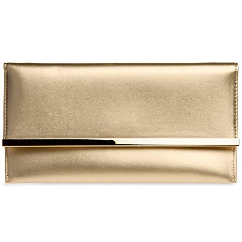 Damen Abendtasche CASPAR kleine Clutch Envelope Or flache elegante Tasche TA405 wf1qfv
