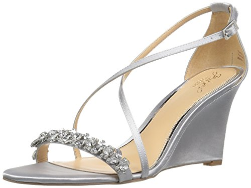 Badgley Mischka Jewel Women's Little Wedge Sandal, Silver, 8